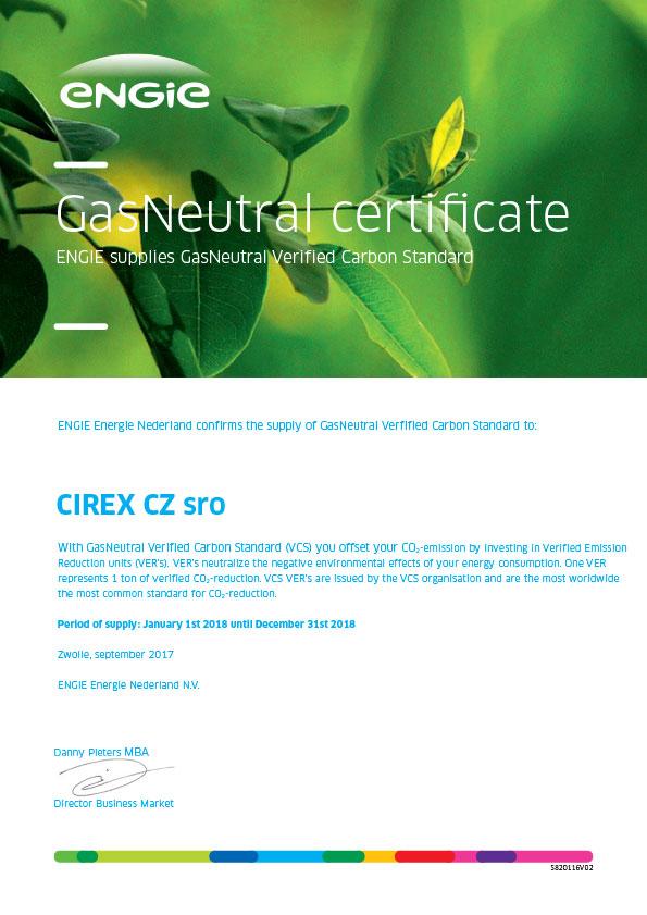 CIREX CZ GasNeutral Certificate